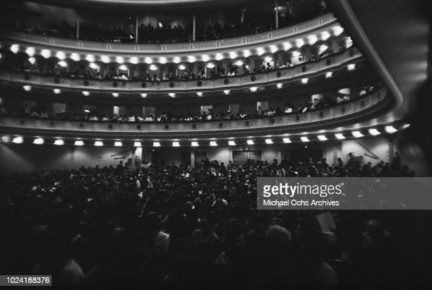 An audience in Carnegie Hall, New York City, during a Chuck Berry concert, circa 1970.