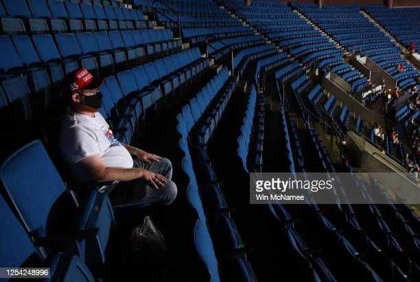 An audience members sits in the upper seats ahead of a campaign rally for US President Donald Trump at the BOK Center June 20 2020 in Tulsa Oklahoma...