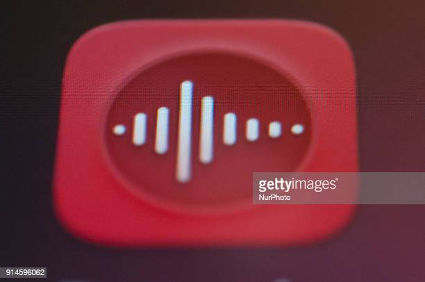 An audio recording app is seen on an Android portable device on February 5 2018