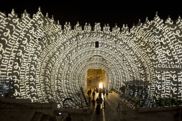 Fotos e imgenes de the annual festival of light is held in an audiovisual light show is projected over the walls of damascus gate out side the old aloadofball Image collections
