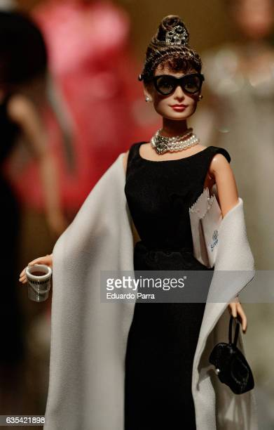 An Audrey Hepburn barbie doll is seen on display at the exhibition 'Barbie mas alla de la muñeca' at Fundacion Canal on February 15 2017 in Madrid...