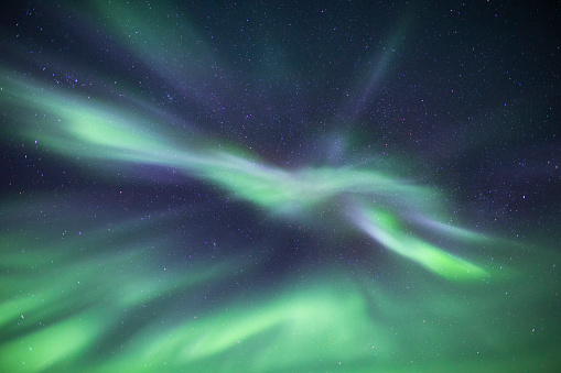 An Aurora borealis abstract pattern in the sky, Tombstone Territorial Park, Yukon Territory, Canada - gettyimageskorea