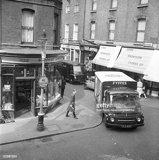 An Austin lorry delivering bananas to a fruiterer's in Soho London 12th May 1960