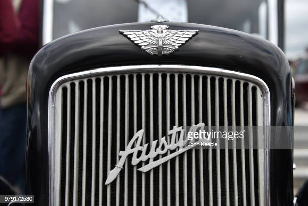 An Austin Seven radiator badge emblem on display during the Southend Classic Car Show along the seafront on June 17 2018 in Southend on Sea England