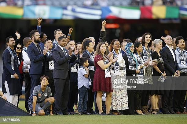 An Australia Day citizenship ceremony takes place before the round 17 ALeague match between the Melbourne Victory and Sydney FC at Etihad Stadium on...