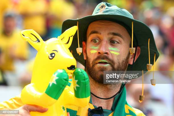 An Australia fan enjoys the atmopshere prior to the 2014 FIFA World Cup Brazil Group B match between Australia and Spain at Arena da Baixada on June...