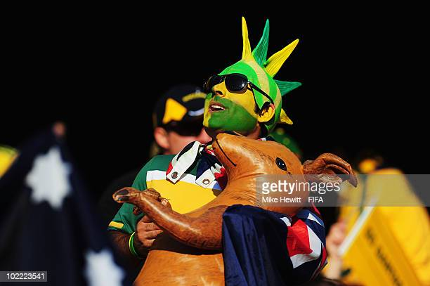 An Australia fan enjoys the atmosphere during the 2010 FIFA World Cup South Africa Group D match between Ghana and Australia at the Royal Bafokeng...