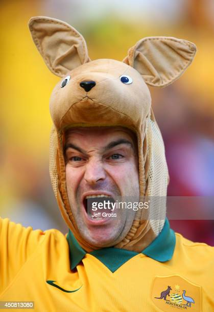An Australia fan enjoys the atmosphere prior to the 2014 FIFA World Cup Brazil Group B match between Australia and Netherlands at Estadio BeiraRio on...
