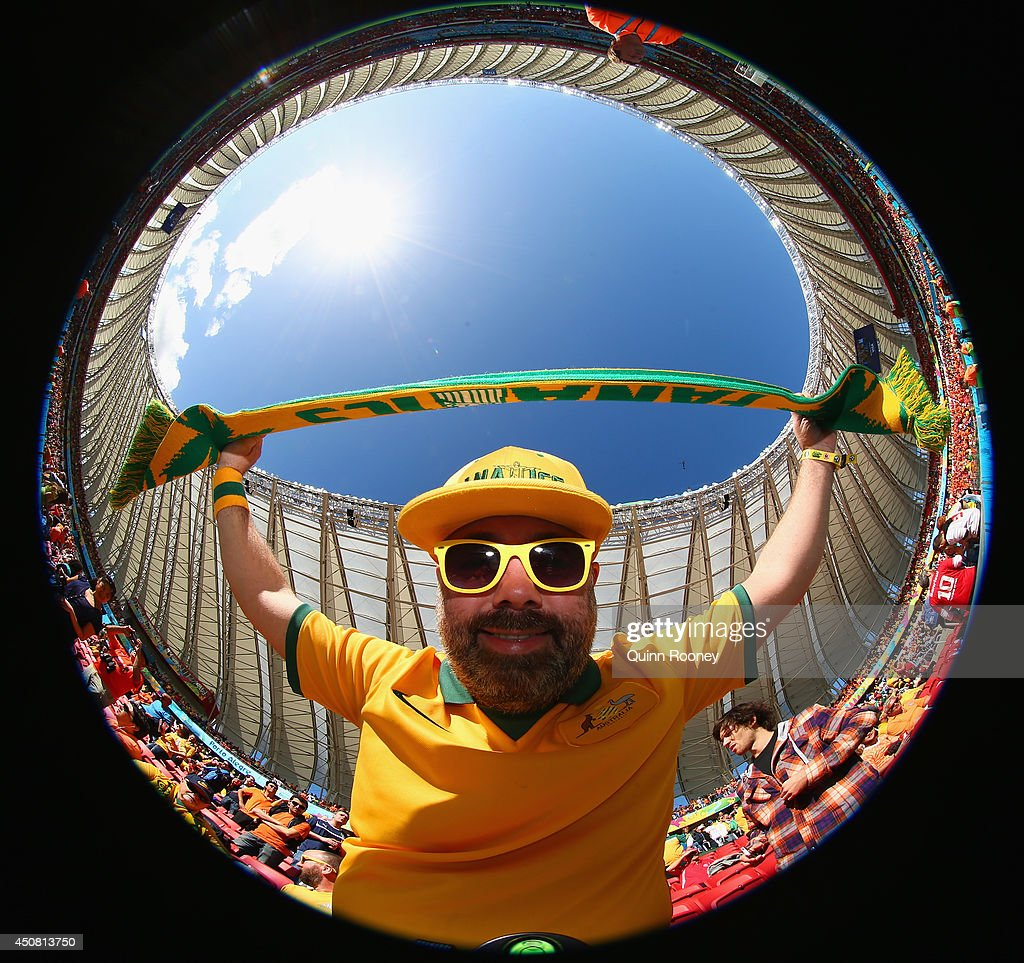An Australia fan enjoys the atmosphere prior to the 2014 FIFA World Cup Brazil Group B match between Australia and Netherlands at Estadio Beira-Rio on June 18, 2014 in Porto Alegre, Brazil.