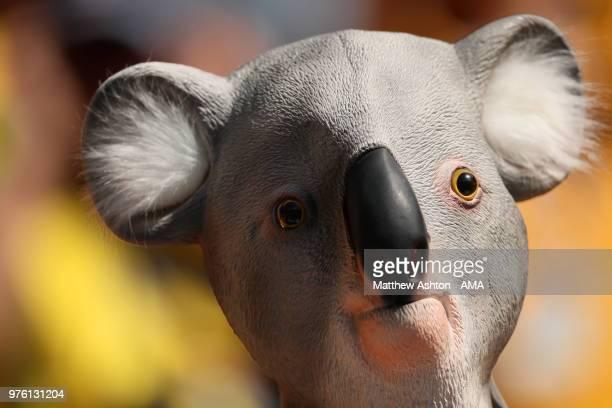 An Australia Fan Looks On Wearing A Koala Bear Mask During The 2018 FIFA World Cup