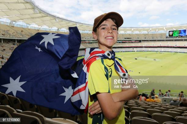 An Australia fan shows his support during game five of the One Day International match between Australia and England at Perth Stadium on January 28...