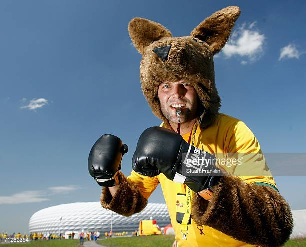 An Australia fan shows their support by dressing up as a boxing kangaroo prior to the FIFA World Cup Germany 2006 Group F match between Brazil and...