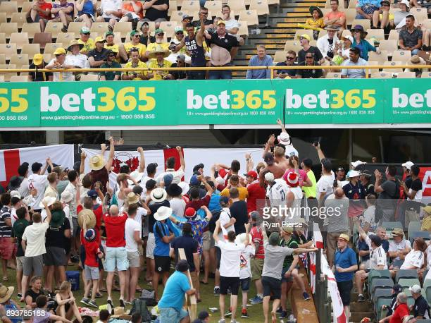 An Australia fan sings to the Barmy Army during day three of the Third Test match during the 2017/18 Ashes Series between Australia and England at...
