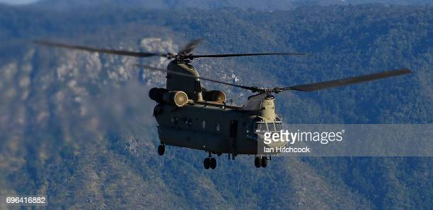 An Australian Army CH47 Chinook helicopter is seen flying during the 3rd Brigade Live Fire Exercise 'Brolga Strike' on June 16 2017 in Townsville...