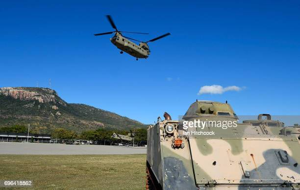 An Australian Army CH47 Chinook helicopter is seen taking off from Lavarack baracks at the completion of the 3rd Brigade Live Fire Exercise 'Brolga...