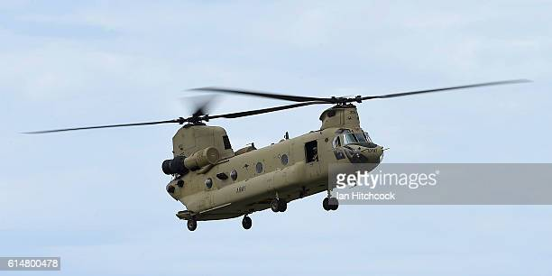 An Australian Army CH47 Chinook helicopter performs during the T150 Defence Force Air Show on October 15 2016 in Townsville Australia The Air Show...