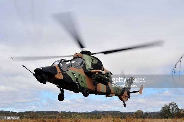 An Australian Army Tiger helicopter flies a reconnaissance mission.
