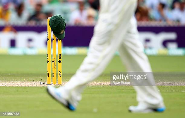 An Australian Baggy Green Cap sits on the stumps during day four of the Second Ashes Test match between Australia and England at Adelaide Oval on...