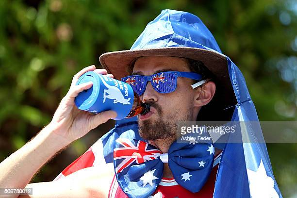 An Australian celebrates Australia Day on January 26 2016 in Avalon Australia Australia Day formerly known as Foundation Day is the official national...