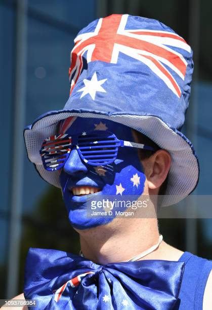 An Australian fan arrives for the tournament during day one of the 2019 Australian Open at Melbourne Park on January 14, 2019 in Melbourne, Australia.