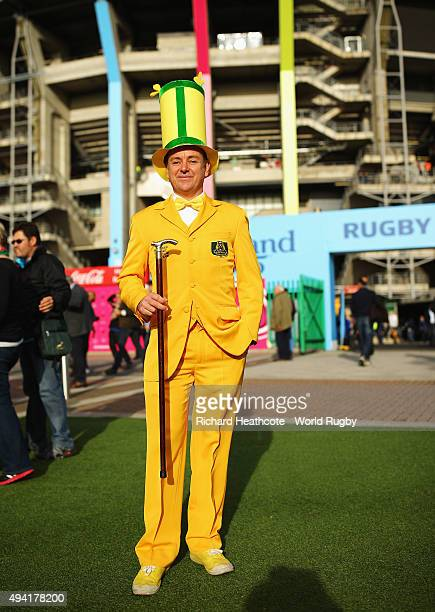 An Australian fan poses prior to the 2015 Rugby World Cup Semi Final match between Argentina and Australia at Twickenham Stadium on October 25 2015...