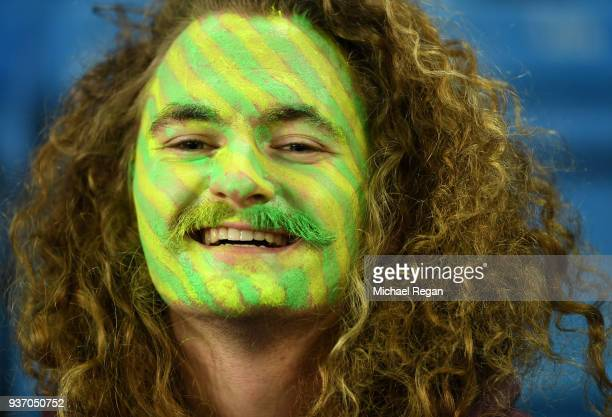 An Australian fan with face paint shows his support during the International Friendly match between Norway and Australia at Ullevaal Stadion on March...