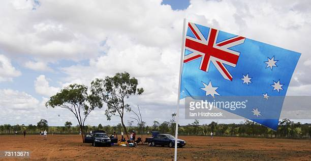 An Australian flag is seen flying at the cricket field called 'Drinkastubbie Downs' during the Goldfield Ashes January 26 2007 in Charters Towers...
