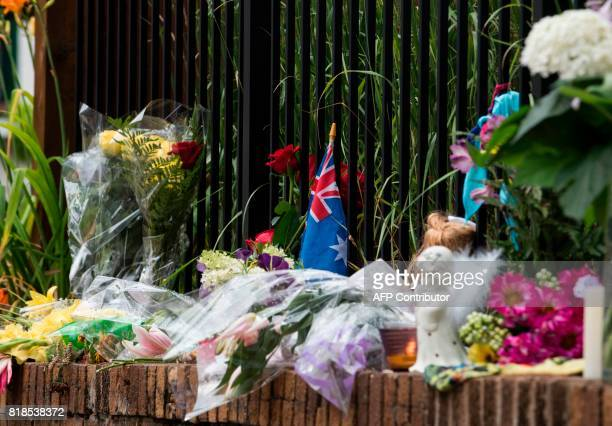 An Australian flag placed at a makeshift memorial for Justine Damond is seen on July 18 2017 in Minneapolis Minnesota Scrutiny intensified into the...