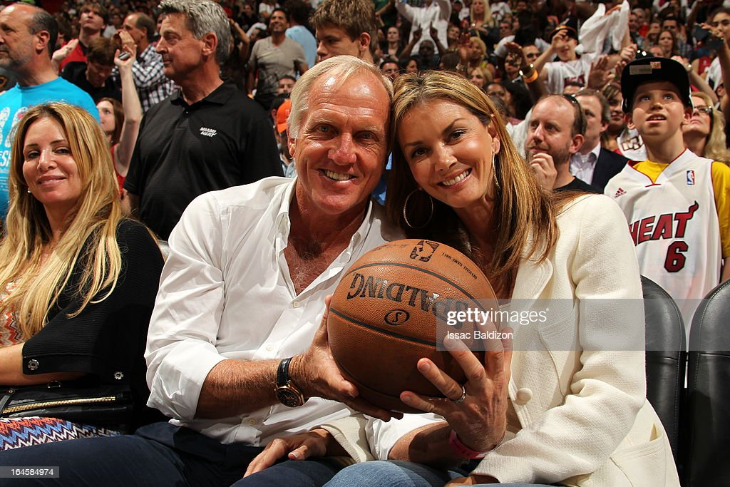 An Australian golfer Greg Norman attends a game between the Charlotte Bobcats and the Miami Heat on March 24, 2013 at American Airlines Arena in Miami, Florida.