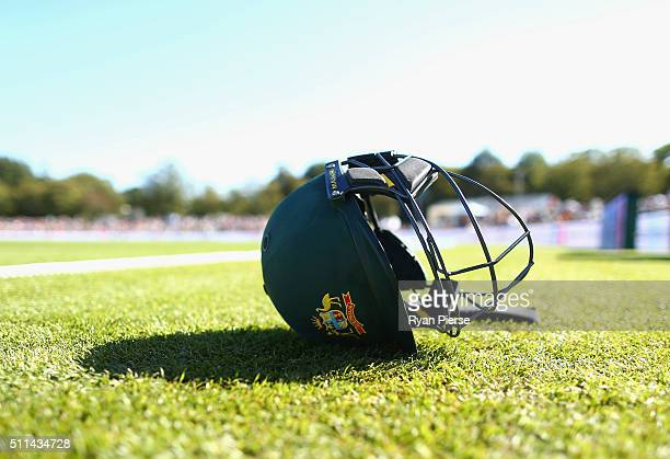 An Australian helmet is seen during day two of the Test match between New Zealand and Australia at Hagley Oval on February 21 2016 in Christchurch...