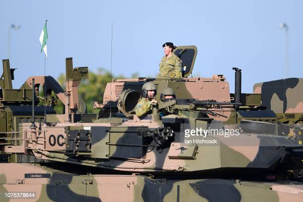 An Australian M1 Abrams takes the salute during the 2nd Cavalry Regiment Mounted Parade on December 01 2018 in Townsville Australia The parade...