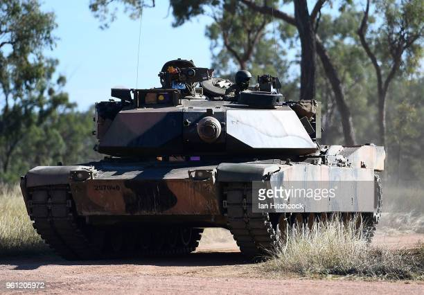 An Australian M1 Abrams Tank assaults an urban complex during Exercise Southern Jackaroo on May 22 2018 in Townsville Australia Exercise Southern...
