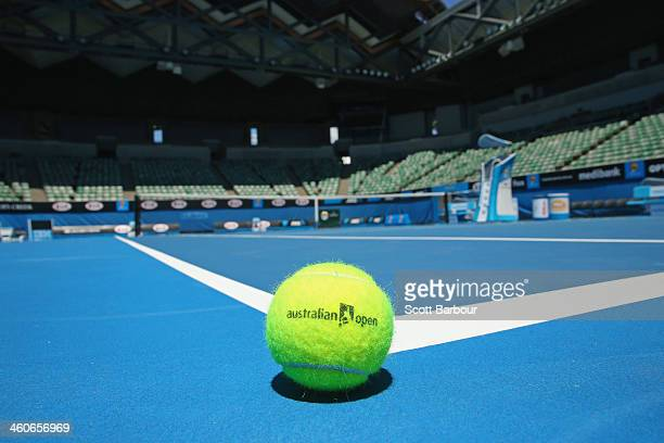 An Australian Open tennis ball rests on the court of the newly redeveloped Margaret Court Arena ahead of the 2014 Australian Open at Melbourne Park...