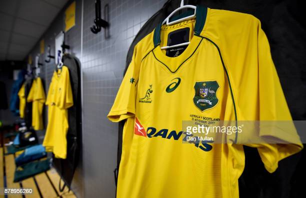 An Australian shirt hangs in the dressing room prior to the international match between Scotland and Australia at Murrayfield Stadium on November 25...