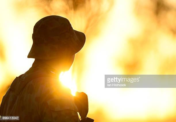 An Australian soldier looks on during the 3rd Brigade Live Fire Exercise 'Brolga Strike' on June 16 2017 in Townsville Australia Exercise Brolga...