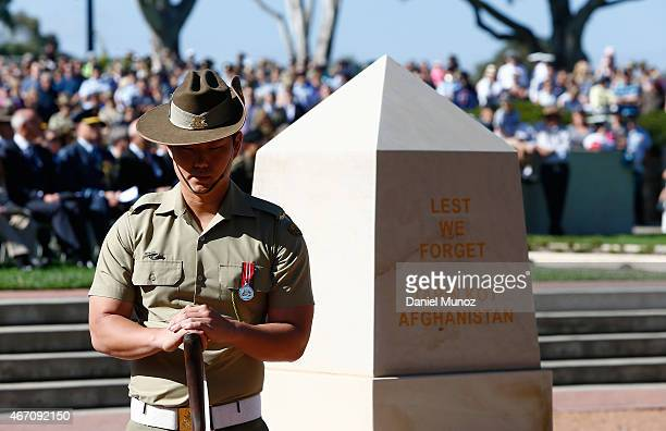 An Australian Soldier stands guard during a military ceremony to mark the end of Operation Slipper Australia's military campaign in Afghanistan and...