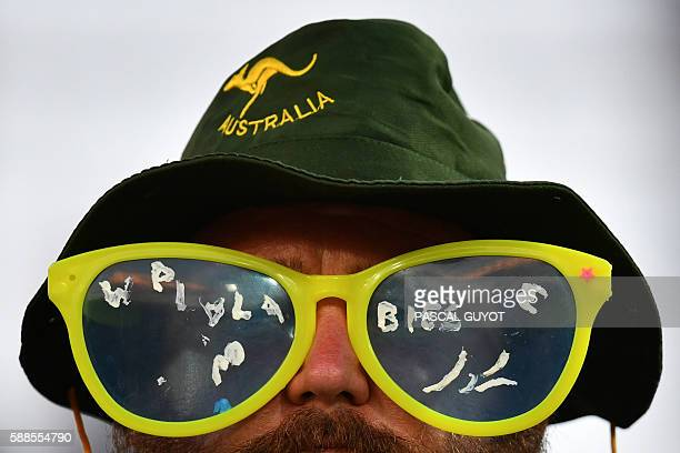 TOPSHOT An Australian supporter attends the mens rugby sevens match between France and Australia during the Rio 2016 Olympic Games at Deodoro Stadium...