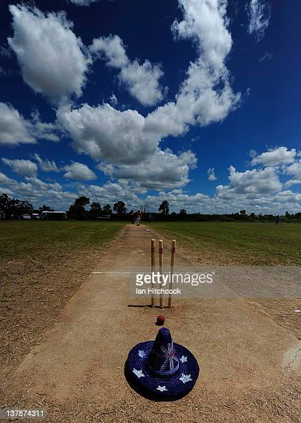 An Australian themed hat is seen sitting on a cricket wicket during the 2012 Goldfield Ashes cricket competition on January 22 2012 in Charters...