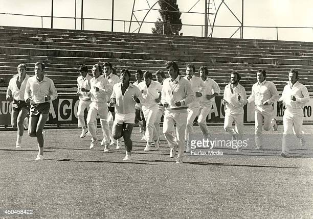 An Australian training session at Moorabbin Melbourne ahead of the first Supertest on December 2 1977 From left are Kerry O'Keeffe Rick McCosker...