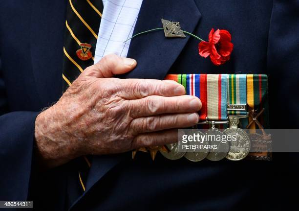 An Australian war veteran takes part in the annual ANZAC Day Parade in Sydney on April 25 2014 Anzac Day commemorations are held on this day each...