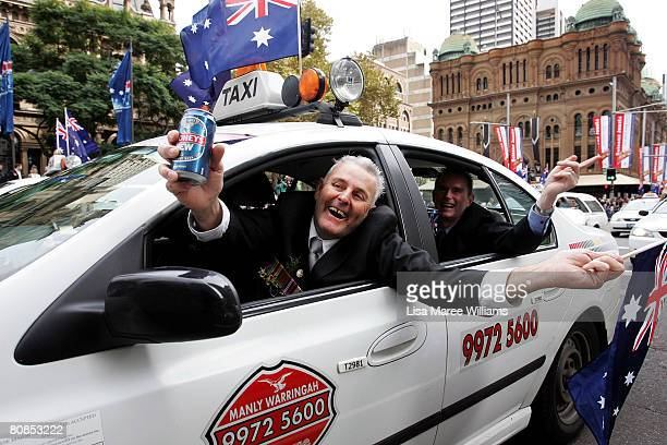 An Australian war veteran travels in a taxi along George Street during Anzac Day Commemorations on April 25 2008 in Sydney Australia ANZAC stands for...