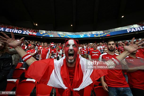 An Austria fan gestures before the the Euro 2016 group F football match between Portugal and Austria at the Parc des Princes in Paris on June 18,...