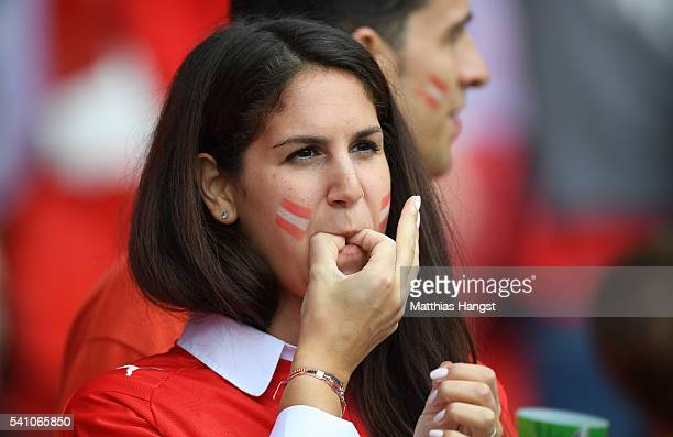 An Austria fan whistles prior to the UEFA EURO 2016 Group F match between Portugal and Austria at Parc des Princes on June 18 2016 in Paris France