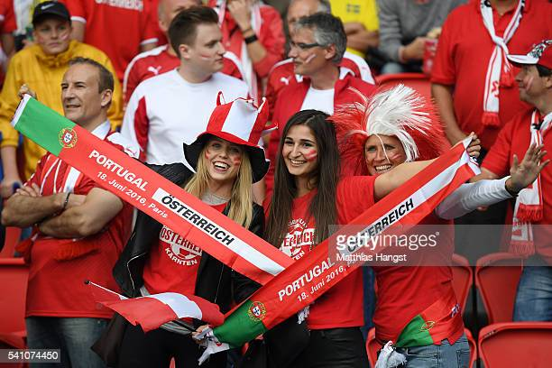 An Austria supporter enjoys the pre match atmosphere during the UEFA EURO 2016 Group F match between Portugal and Austria at Parc des Princes on June...