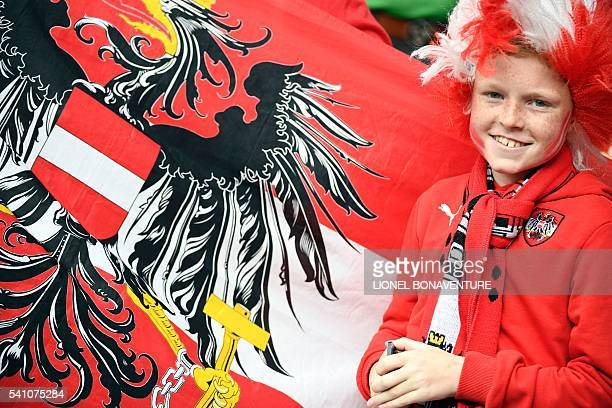 An Austria supporter is seen prior to the Euro 2016 group F football match between Portugal and Austria at the Parc des Princes in Paris on June 18,...