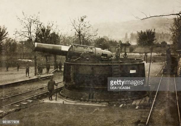 An Austrian 420 mm Skoda cannon taken by the Italian Army Rovereto World War I Italy 20th century