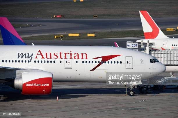 An Austrian Airlines Boeing 777-200ER is parked as the Airlines shuts down its regular flight schedule at Vienna International Airport on March 19,...