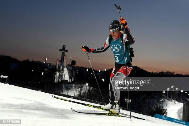 An Austrian Biathlete trains ahead of the PyeongChang 2018 Winter Olympic Games at Alpensia Biathlon Centre on February 8 2018 in Pyeongchanggun...