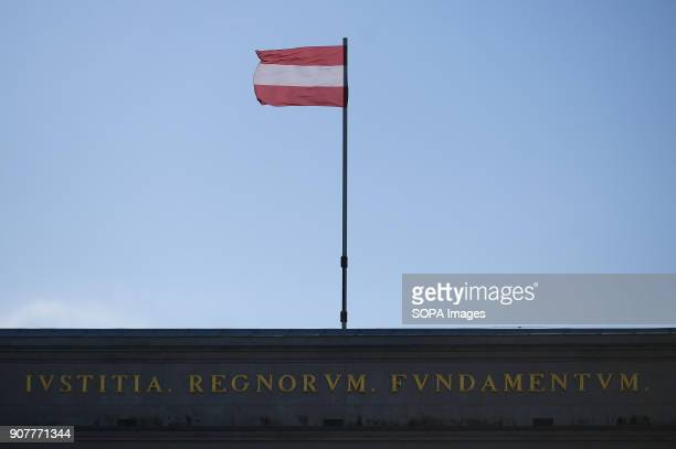 An Austrian flag is seen flying in Hofburg Palace in Vienna