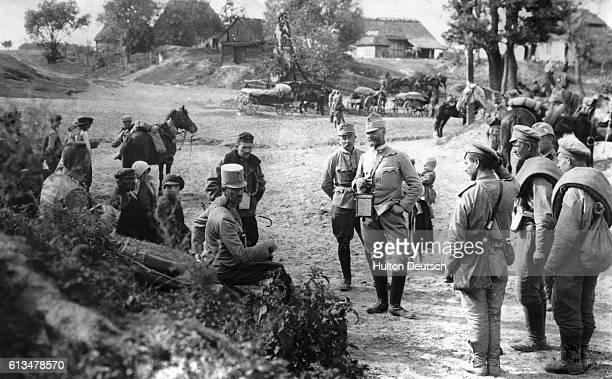 An Austrian general interrogates Russian prisoners at Ivangorod, ca. 1915.